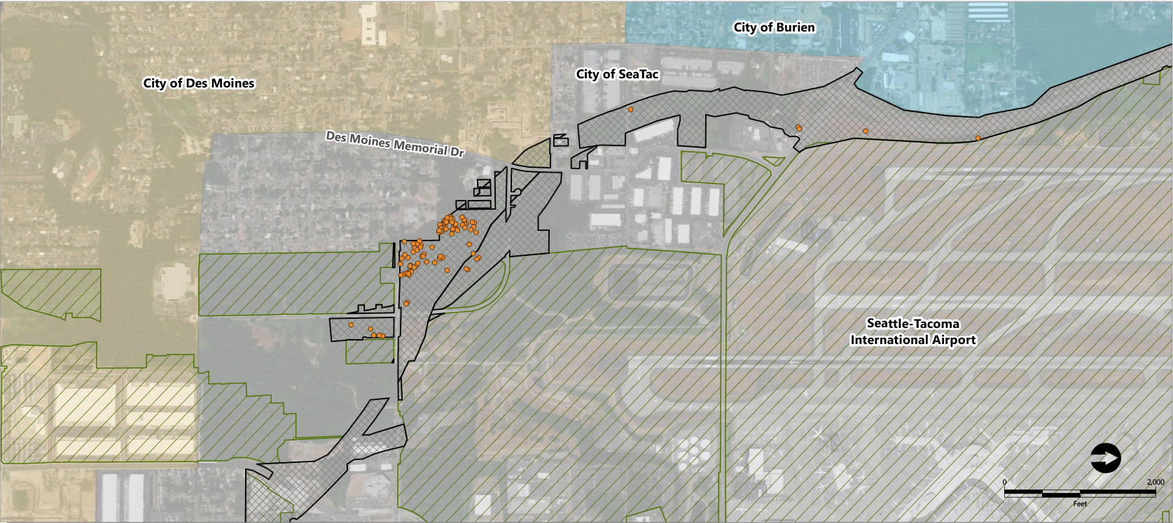 Map showing site vicinity and locations of obstructions, including all jurisdictions.