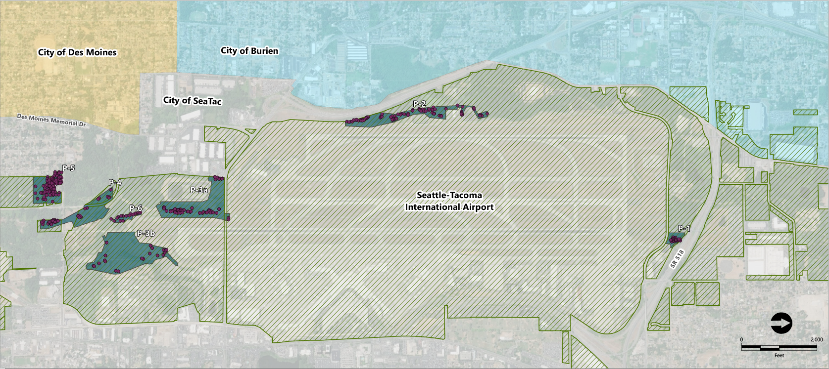 Map showing site vicinity and locations of trees removed from Port property.